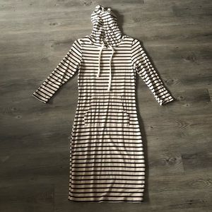 Stripped Pencil Midi Sport Dress With Hoodie